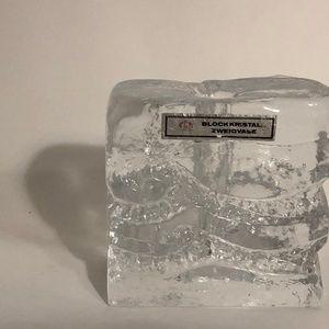 Block Crystal Bud Vase Vtg 1970's Ingrid Glashütte